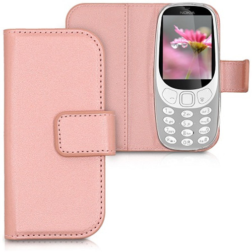 Rose Gold PU Leather Wallet Case Flip Cover for Nokia 3310 (2017)