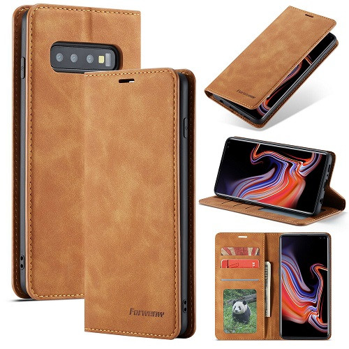 Samsung Galaxy  S10 Brown Plus Leather  Wallet Card Slots Stand Case