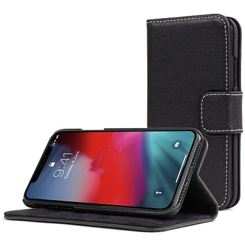 Apple iPhone  XS Black Real Genuine Leather Flip Wallet  Cover