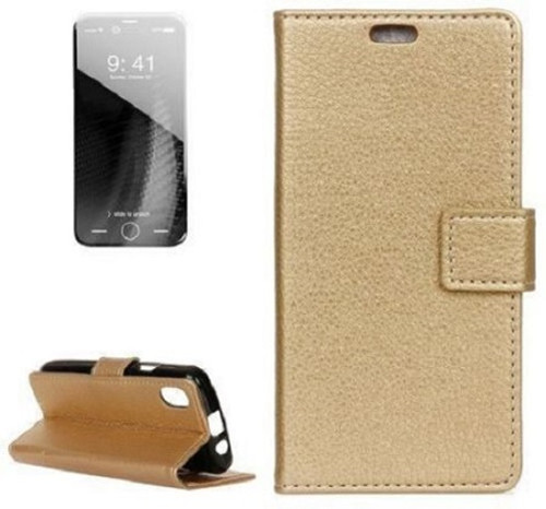 Apple iPhone  XS Gold Real Genuine Leather Flip Wallet  Cover