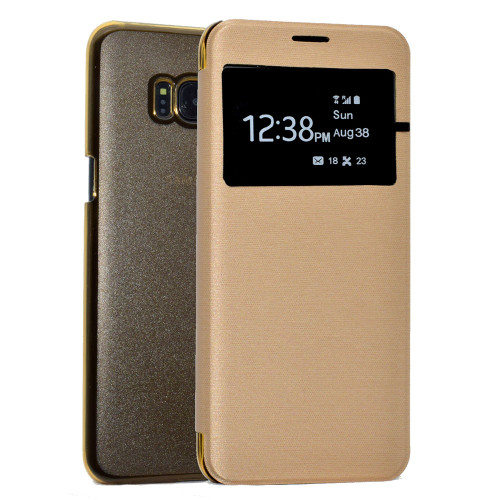 Samsung Galaxy  S7 Edge Window View Case - Gold