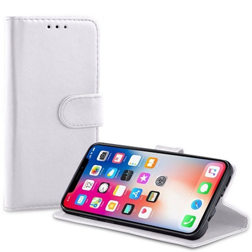 Apple iPhone  XS White Real Genuine Leather Flip Wallet  Cover