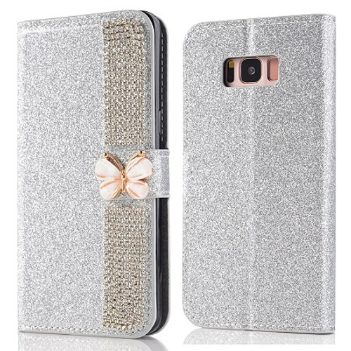 Samsung Galaxy Glossy Bling Leather Crystal Flip Magnetic Card Case With Stylus