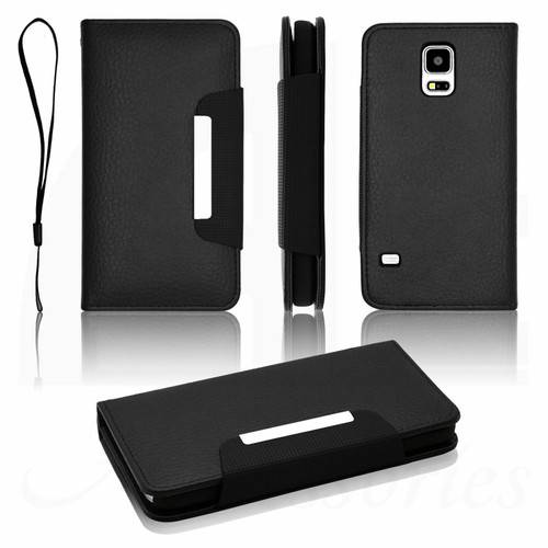 Black Samsung Galaxy S6  Luxury Magnetic Flip Cover Stand Wallet Leather Case