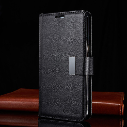 Black Samsung Galaxy S6 Edge Plus Luxury Magnetic Flip Cover Stand Wallet Leather Case
