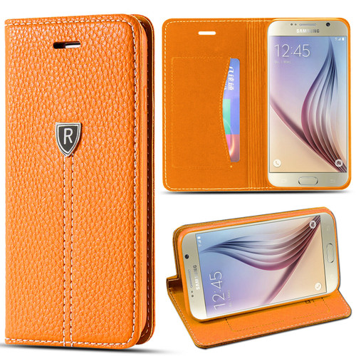 Case Cover For Samsung S6 brown Leather Flip Wallet Stand Card Holder