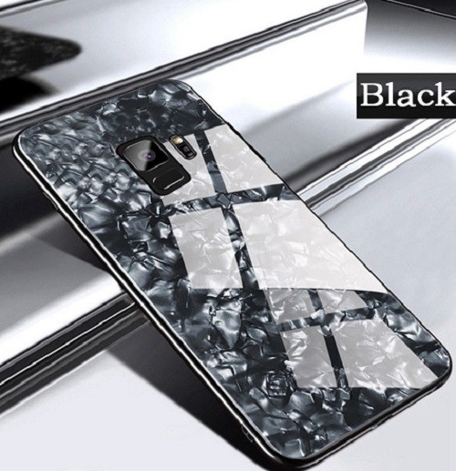 Samsung Galaxy Note 9 Black Magnetic Absorption Marble Glass Case