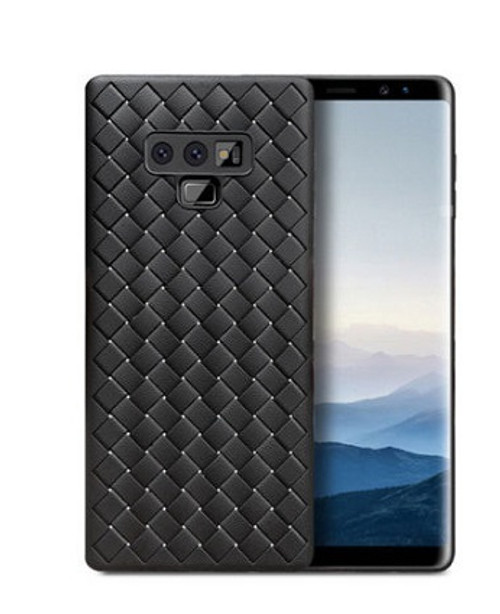 Samsung Galaxy Note 9 Black Silicin Wave  Leather Gel Case