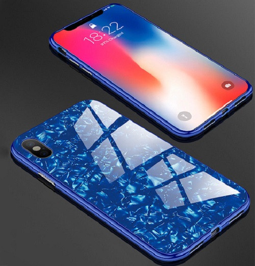 Samsung Galaxy Note 9 Blue Magnetic Absorption Marble Glass Case