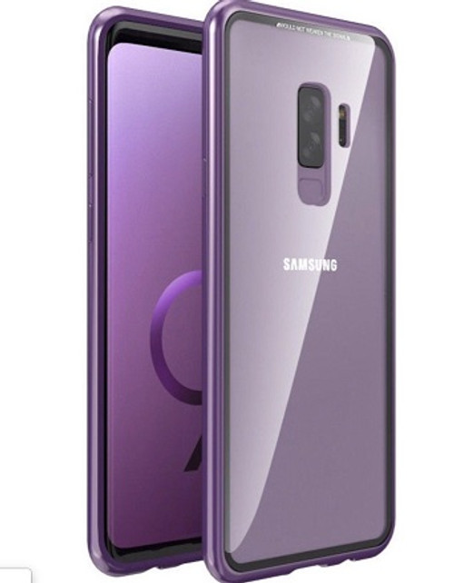 Samsung Galaxy Note 9 Purple Magnetic Adsorption Metal Bumper Glass Case