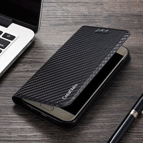 Samsung Galaxy S10 Plus Magnetic Carbon Leather Flip Wallet Phone Case