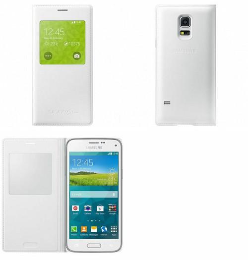 Samsung Galaxy S5 Mini S View Wake Sleep Flip Book Case Cover - White