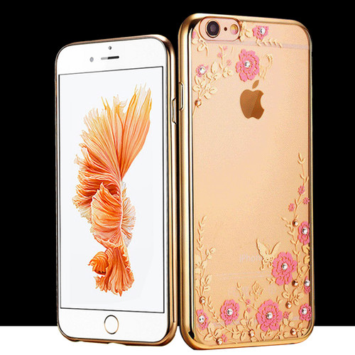 Samsung Galaxy S5 Shockproof Gel Bling Pink Flower Gold Bumper case