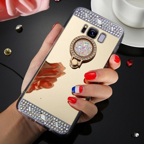 Samsung Galaxy S6  Gold Bling Glitter Finger Ring Stand Mirror TPU Case
