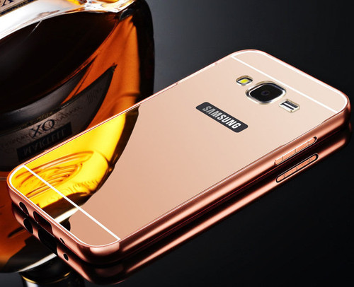 Samsung Galaxy S6 Edge Aluminium Metal Bumper Mirror Hard Back Case  - Rose Gold
