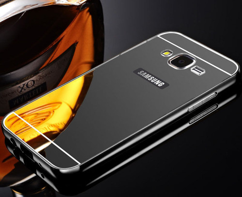 Samsung Galaxy S6 Edge Aluminium Metal Bumper Mirror Hard Back Case Cover - Black