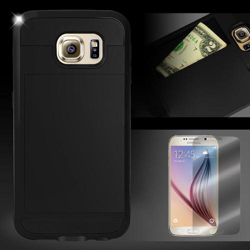 Samsung Galaxy S6 Edge Card Pocket Slim Hybrid Case- Black