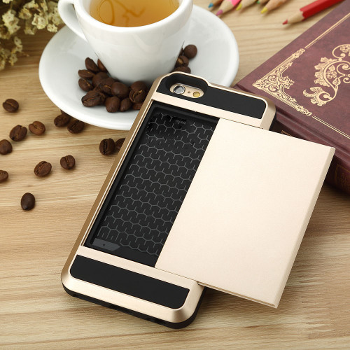 Samsung Galaxy S6 Edge Card Pocket Slim Hybrid Case- Gold