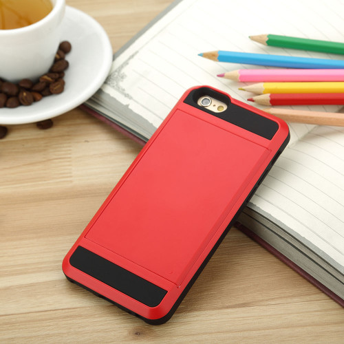 Samsung Galaxy S6 Edge Card Pocket Slim Hybrid Case- Red