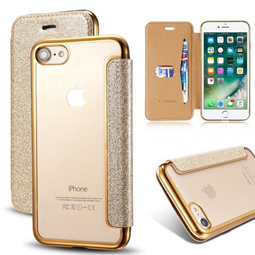 Samsung Galaxy S6 Edge Gold Glitter Clear Back Leather Wallet Case
