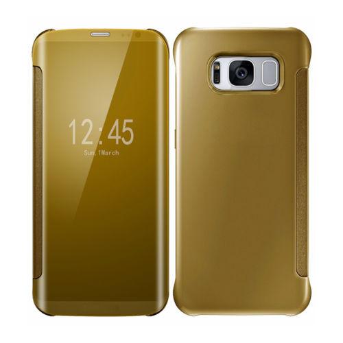 Samsung Galaxy S6 Edge Mirror Smart View Clear Flip Phone Case Cover - Gold
