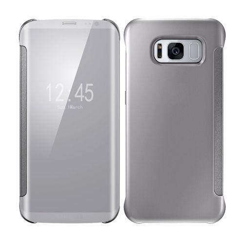 Samsung Galaxy S6 Edge Mirror Smart View Clear Flip Phone Case Cover - Silver