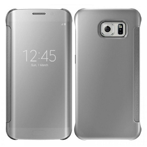 Samsung Galaxy S6 Edge Plus Mirror Smart View Clear Flip Cover - Silver