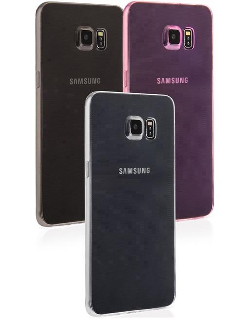 Samsung Galaxy S6 Edge+ Plus Thin Clear Gel Phone Case Cover - Smoke Black