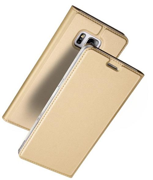 Samsung Galaxy S7  Luxury Ultra Thin Leather Flip Card Holder Case- Gold