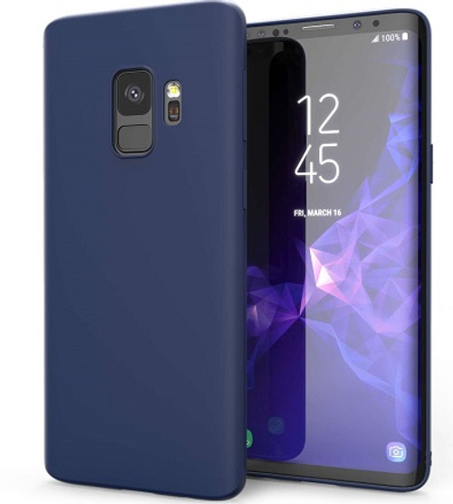 Samsung Galaxy S9 Plus  Matte Finish Blue Silicone Ultra Thin Slim Soft Gel cover