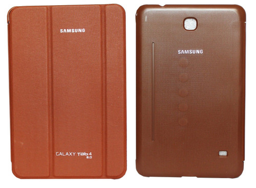 "Samsung Galaxy Tab 4 8"" T335 T330 Brown Folding Stand Smart Cover"