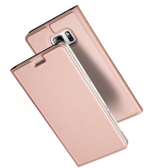 Samsung Galaxy S8  Plus Luxury Ultra Thin Leather Flip Card Holder Case- Rose Gold