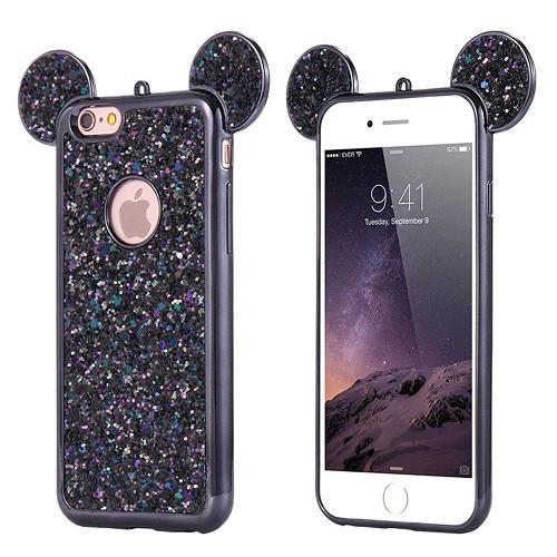 Samsung Galaxy S8 Plus Black Glitter Bling Cute Mickey Ear Phone Case