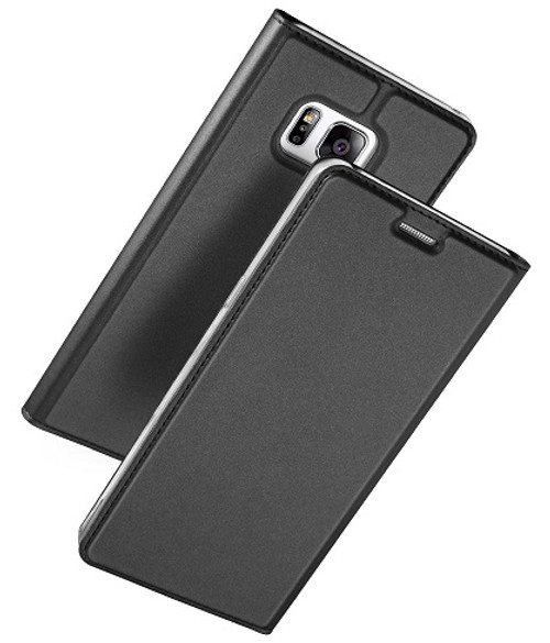 Samsung Galaxy S8 Plus Luxury Ultra Thin Leather Flip Card Holder Case- Black