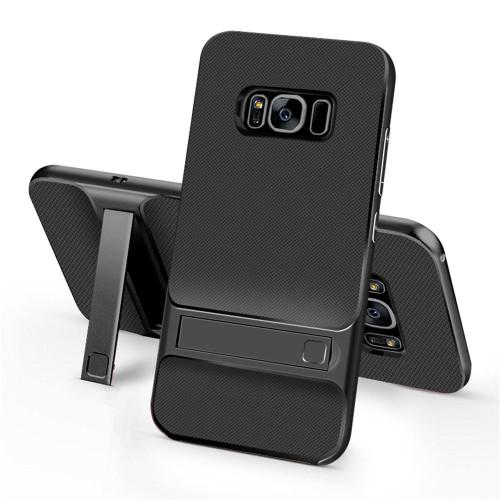 Samsung Galaxy S8 Plus TPU Shockproof Stand Back Case Black