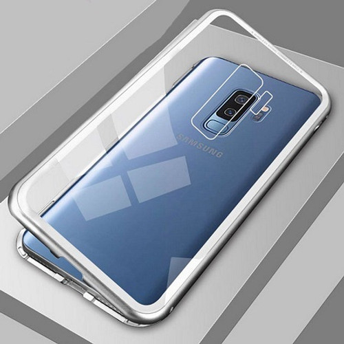 Samsung Galaxy S9  Silver Magnetic Adsorption Metal Bumper Glass Case