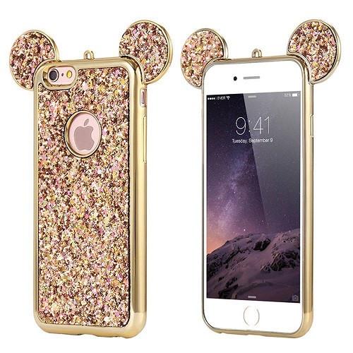 Samsung Galaxy S9 Gold Glitter Bling Cute Mickey Ear Phone Case
