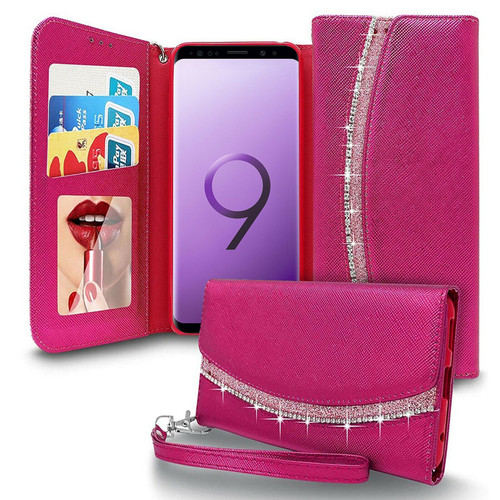 Samsung Galaxy S9 Hot Pink Bling Glitter Sparkly Leather  Case