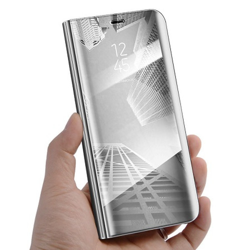 Samsung Galaxy S9 Plus Mirror View Stand Cover Silver