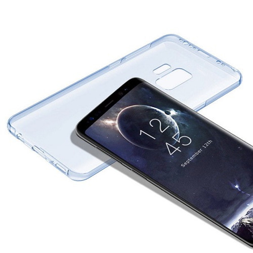 Samsung Galaxy S9 Shockproof 360 Protective Silicone Gel Blue Case