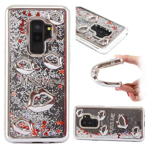 Samsung Galaxy S9 Silver Bling Glitter Quicksand Liquid Soft Case