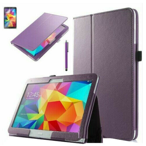 Samsung Galaxy Tab 3 10.1 purple Leather Tablet Stand Flip Cover