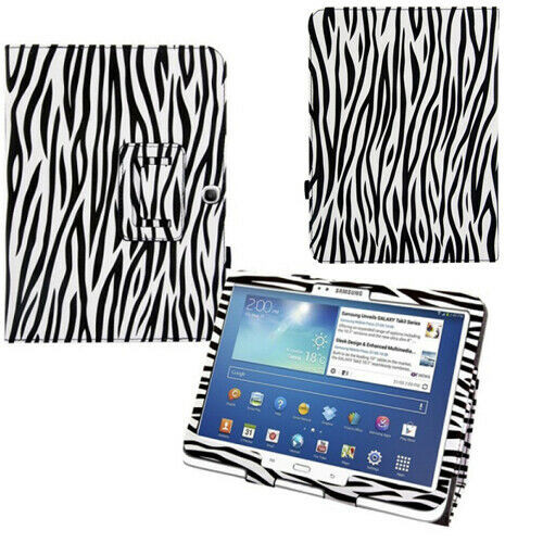 Samsung Galaxy Tab 3 10.1 zebra Leather Tablet Stand Flip Cover
