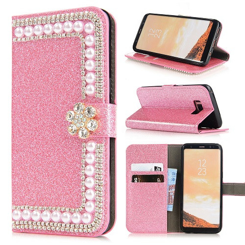 Samsung S10e Pink Glitter Leather Wallet Stand Magnetic Case