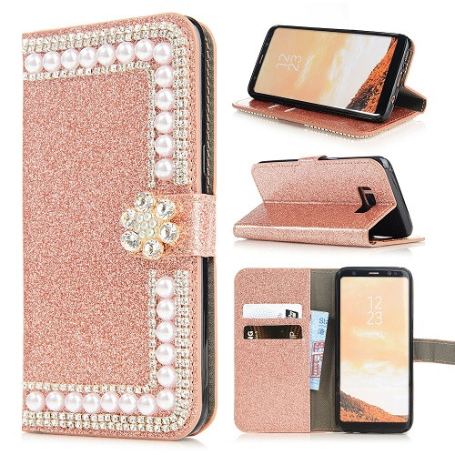 Samsung S10e Rose Gold Glitter Leather Wallet Stand Magnetic Case
