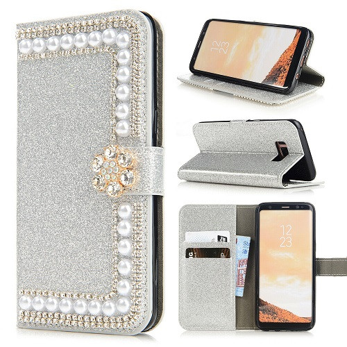 Samsung S10e Silver Glitter Leather Wallet Stand Magnetic Case