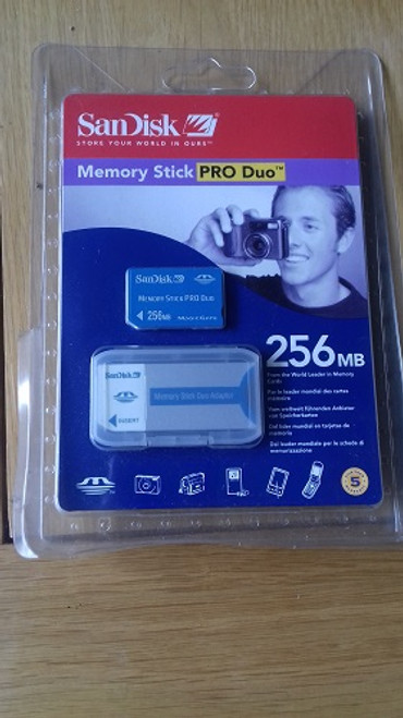 Sandisk 256MB Pro Duo Memory Card Stick and Adapter
