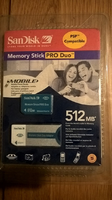 Sandisk 512MB Pro Duo Memory Card Stick and Adapter