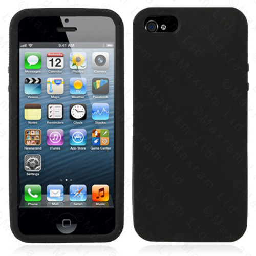 TPU Soft Silicone black Gel Back Case for iPhone 5  + Screen Protector
