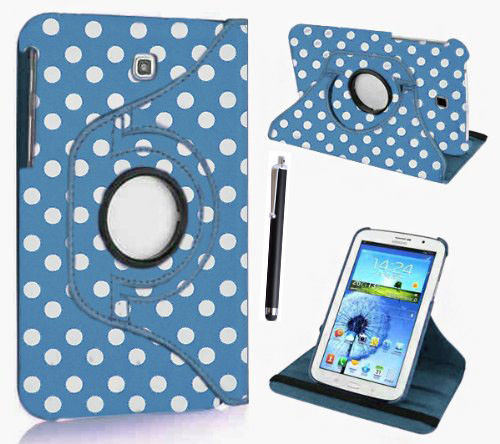 """Sky Blue and White Polka Samsung Galaxy Tab PRO 8.4"""" SM-T320/T325 360 Rotating Leather Case"""